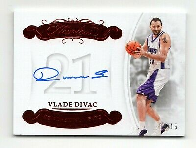 Vlade Divac Nba 2017-18 Flawless Honored Numbers Autographs Ruby #/15 (Kings)