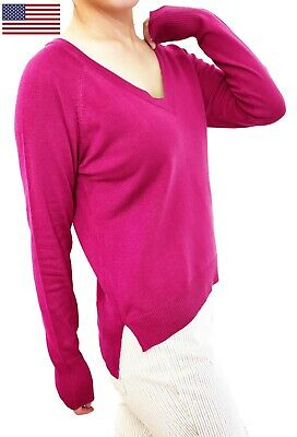 Women Pullover Top Jumper Sweater Soft Knit V Neck Fitted or Loose Cardigan