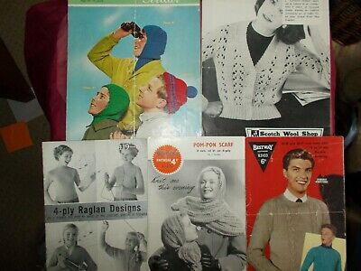 5  Vintage  Knitting Patterns -  Cardigans / Jackets, Hats, Sweaters