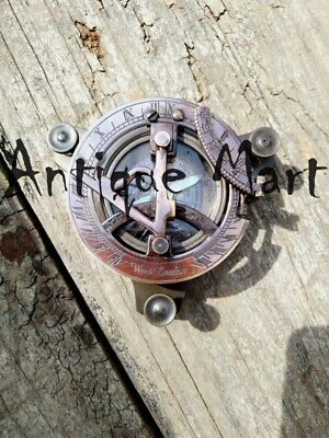 Antique Solid Brass Working Sundial Compass Marine Astrolabe Item Gift