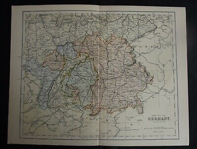 Antique Map: Empire of Germany (Southern Portion), Europe, c 1880, Colour