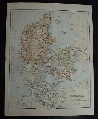 Antique Map: Denmark, Sleswig & Holstein, Europe, c 1880, Colour