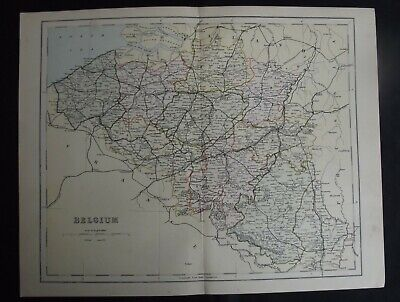 Antique Map: Belgium, Europe, c 1880, Colour