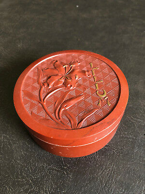 RARE Red Brick Bakelite Powder Jar Art Deco Bourjois Paris France Lilium Vanity