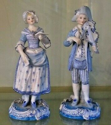 Pair of Rare French 18th C Porcelain Clignancourt Musician Figurines C 1771+