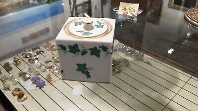 Herend Hungry Hand Painted Green  & Gold Inkwell