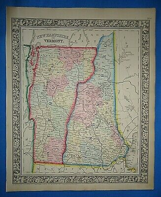 Vintage 1863 NEW HAMPSHIRE - VERMONT MAP ~ Old Antique Original Atlas Map 41019