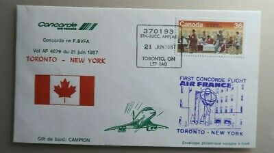 1987 Air France Concorde Cover - First Flight Toronto To New York F.bvfa 21/6/87