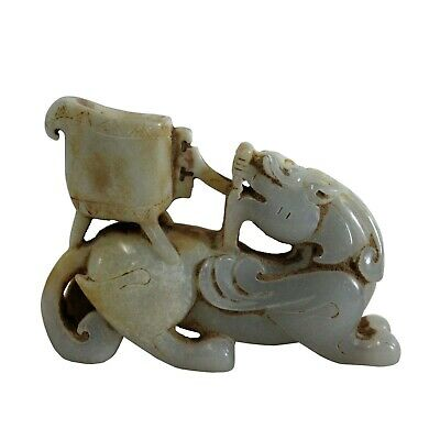 Chinese Off White Yellow Stone Carved Small Mythical Animal Figure Art ws317