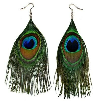 REAL PEACOCK FEATHER EARRING PAIR Bird Dangle Jewelry Green Natural Light Weight