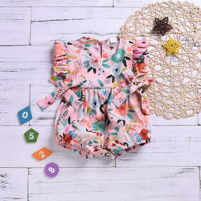 Toddler Newborn Baby Girl Floral Ruffle Romper Bodysuit Jumpsuit Outfits Sunsuit