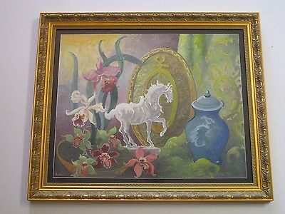 Dolph Little Old  American Painting Still Life Asian Theme Art Deco Floral Horse