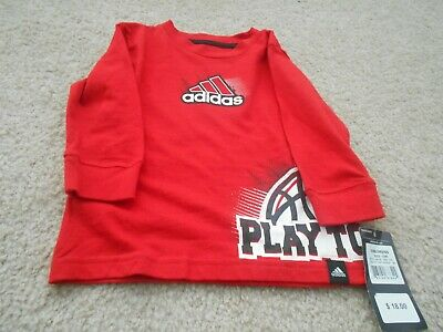 New! Adidas Boys 12 months Red and Black Long sleeve Top!