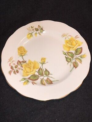 Royal Standard Fine Bone China England Sunset 8 In Plate Yellow Roses Gold Edge