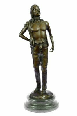 "14""x5"" Bronze Sculpture Fritz Berman Native Indian Prince Statues Figure Sale"