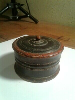 Antique Turned Wooden Container Nice Patina Very Old 1845 Date On Bottom Neat