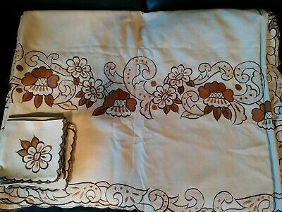 "Vintage Madeira Embroidered Flowers Applique Linen Tablecloth 110""x62 12 Napkins"