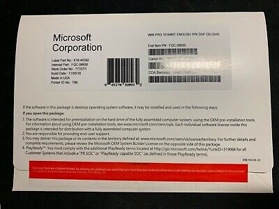 Microsoft Windows Professional 10 pro brand new sealed with key + dvd