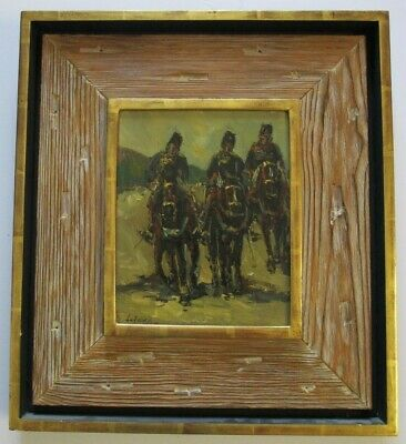 Masterful Impressionism Painting Men Soldiers Of Horse Vintage Signed Russian ?