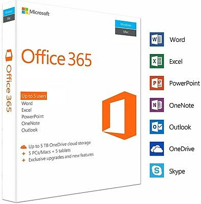 Microsoft Office 365 Pro Plus 2019 5 Devices Account - Activation Not Key Code