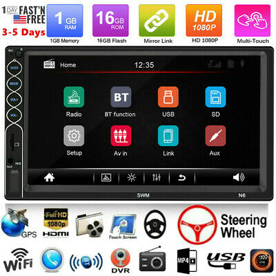 2 DIN 7 inch Car Stereo Radio MP5 Player Bluetooth Touch Screen With Rear Camera