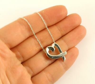 Authentic Tiffany & Co. Paloma Picasso Loving Heart Necklace 925 Sterling Silver