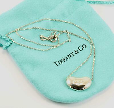 Authentic Tiffany and Co. Elsa Peretti Puffy Bean 16''  Necklace Sterling Silver