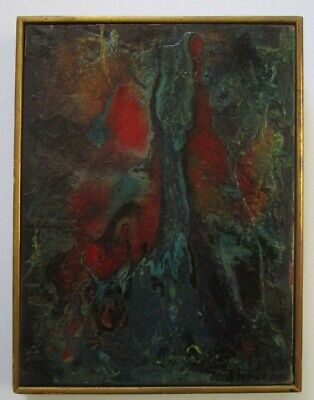 Mid Century Painting Pollock Style Modernism Drip Swirl Signed Russian ? Vintage