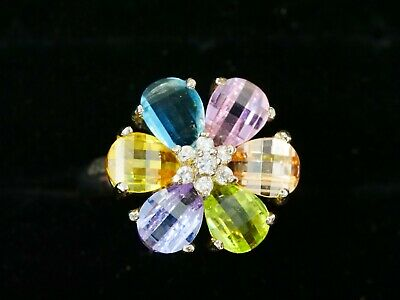 Sterling Silver  Multi Stone Multi Color Flower Ring. Beautiful. Size 10.5