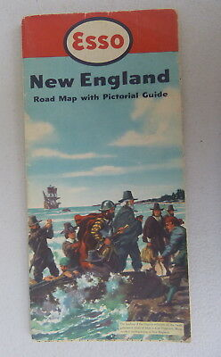 1952 New England road map Esso oil gas pictorial guide Pilgrim landing cover
