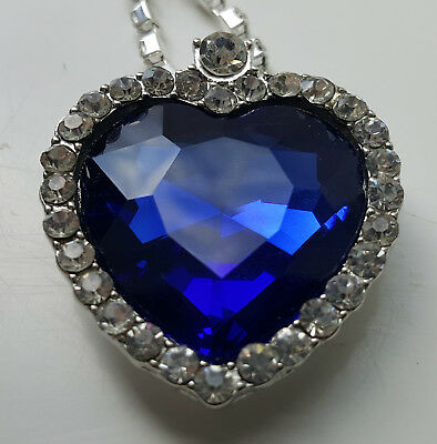 LARGE Heart of the Ocean Silver Necklace from Titanic Movie worn Kate Winslett