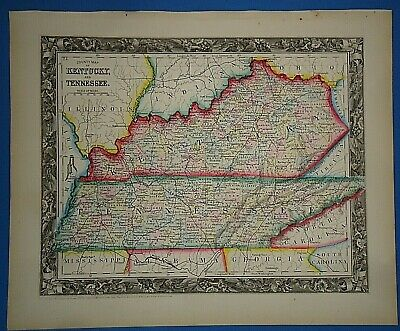 Vintage Circa 1860 KENTUCKY TENNESSEE MAP Antique Original Vibrant Hand Colored
