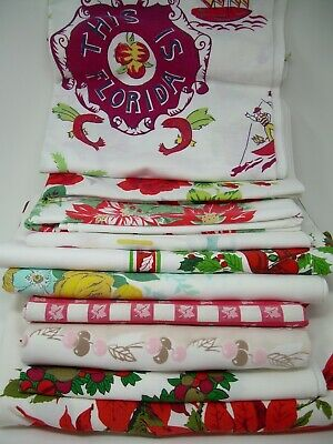 10 Vintage Tablecloths Christmas Floral Florida Figural Usable or Crafts Lot #1