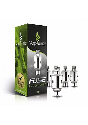 VAPOURIZ FUSE DUAL COIL HEADS - Pack of 5 - Clearomiser Replacement DUAL COILS
