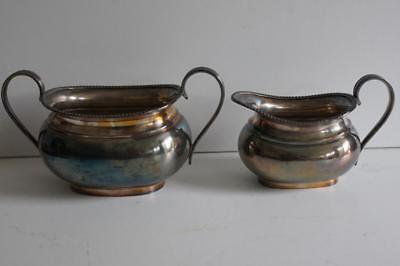 Vintage Atkin Brothers Sheffield Silver Plate Epns Milk/Cream Jug & Sugar Bowl.