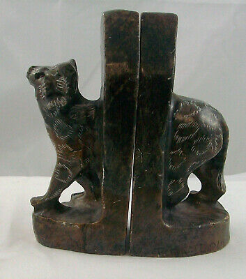 Soapstone Leopard Bookends, antiques, solid Hand carved, 5 1/2 Inches Tall