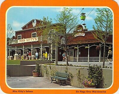 postcard BIG 5.25x6.75 Miss Kitty's Saloon - Six Flags Over Mid-America MO