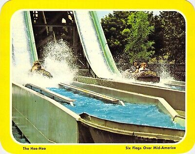 postcard BIG 5.25x6.75 The HOO-HOO Log Flume RIDE- Six Flags Over Mid-America MO