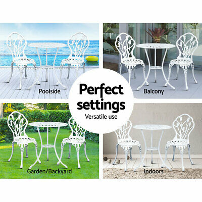 3 Pcs Garden Table And Chair  Bistro Set Cast Iron Outdoor Dining Elegant White