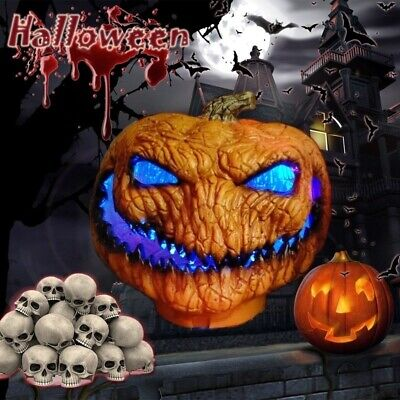 New Scary Orange Pumpkin Lamp Thanksgiving Halloween Decoration With LED Lights