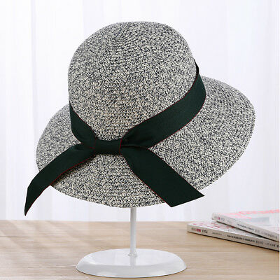 Women Summer Floppy Wide Brim Ribbon Beach Cap Bow Straw Sun Hat Adjustable UK