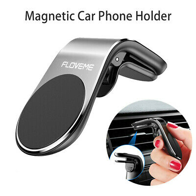 FLOVEME Magnetic Car Phone Holder Clip Air Vent Mount For Cell Phone GPS Silver