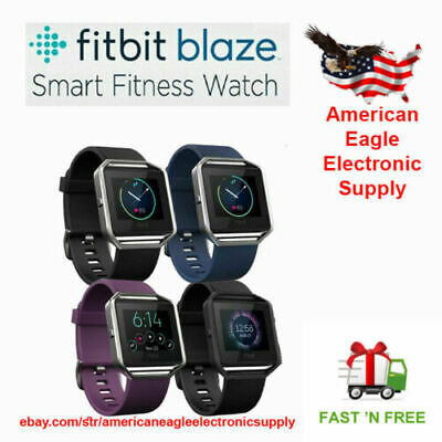 Fitbit Blaze SmartWatch Fitness Activity Tracker Black Blue Pulm Small Large