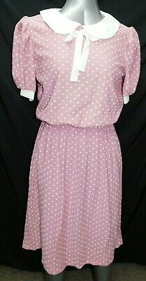 VINTAGE Polka Dot Pink & White 70s Dress Sunshine Ladies 14 Poly WITH Tags MOD