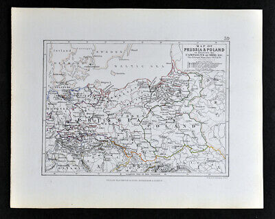1855 Johnston Military Map Napoleon Prussia Poland 1806 Campaign Germany Russia