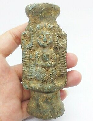 Ancient Bactrian Old Amazing Schist Stone Bottle Carved Stunning.