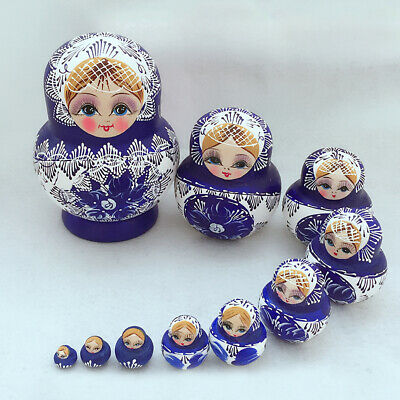 KM_ DV_ 10Pcs Wood Russian Matryoshka Nesting Dolls Blue Hand Paint Gift Decor H