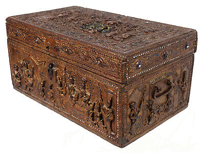 Antique Burma Lacquer Manuscript Box Chest Casket Buddhist Kiste Truhe Burma