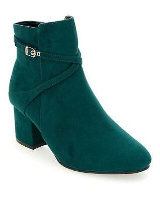 Womens Teal Extra Wide Fit Eee Ankle Boots Low-Heel Zip-Up Comfy Shoes Uk 4-9