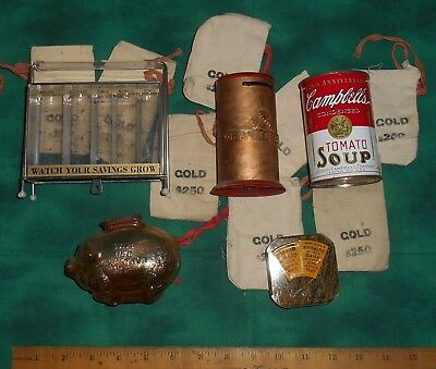 Lot of 5 vintage coin banks Stack Ohio Oil Co Campbell's Soup 125th Rain E Day